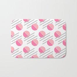 Modern Pink Circle Line Abstract Bath Mat