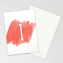 Letter I Coral Watercolor Stationery Cards