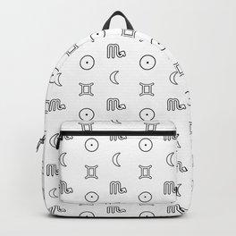 Gemini/Scorpio + Sun/Moon Zodiac Glyphs Backpack