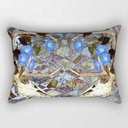 Diamond Pattern Deer Skull And Morning Glory Rectangular Pillow