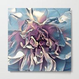Painted Purple Blue Rose Macro Metal Print