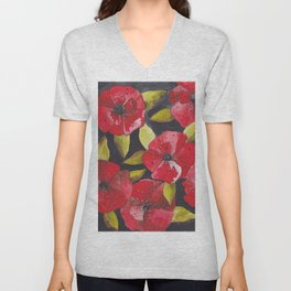 Poppies Unisex V-Neck