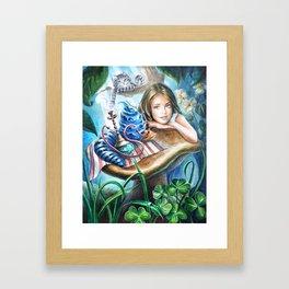 Alice and blue caterpillar Framed Art Print