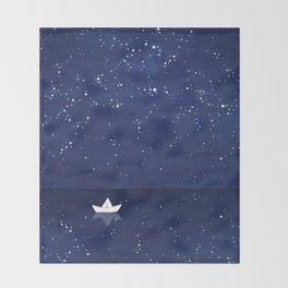 Zen sailing, ocean, stars Throw Blanket