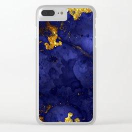 Gold Blue Indigo Malachite Marble Clear iPhone Case