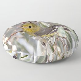 Watercolor Bird, Goldfinch 02, Estes Park, Colorado, Autumn Gold Among the Russian Olives Floor Pillow