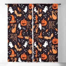 Halloween party illustrations orange, black Blackout Curtain