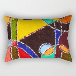 A carpet with an abstract pattern made by hands. Rectangular Pillow