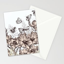 Butterfly Flowers And Butterflies Stencil Stationery Cards