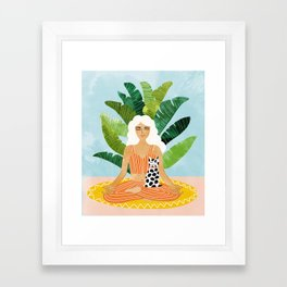Meditation With Thy Cat #illustration #painting Framed Art Print