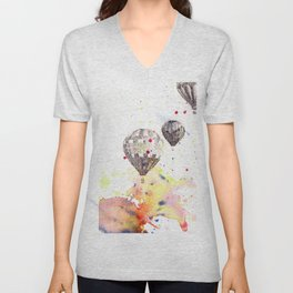 Hot Air Balloons Painting Unisex V-Neck