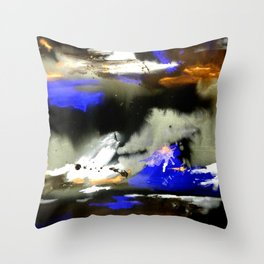 Watercolor Abstract Horizons at Night  Throw Pillow