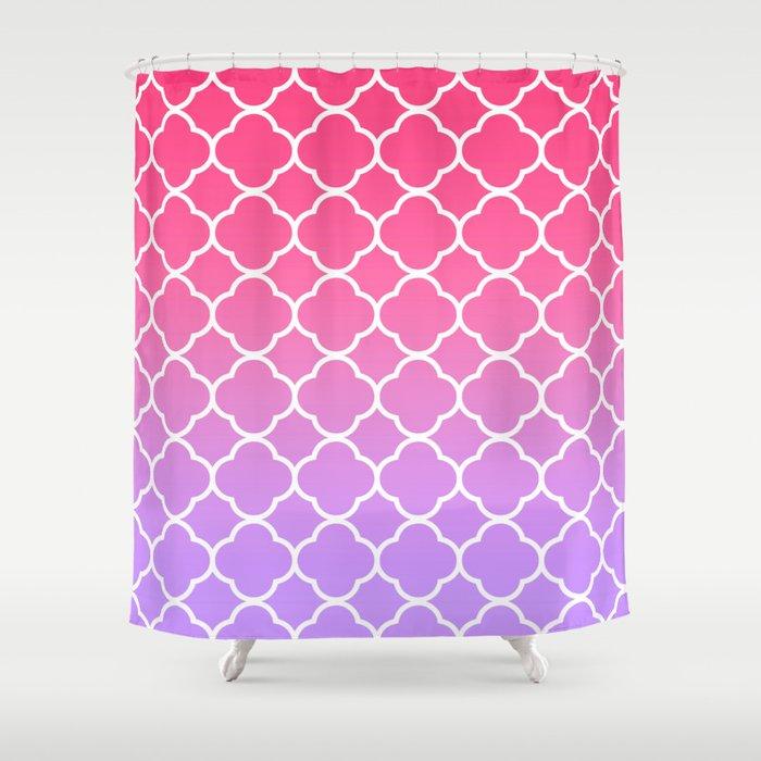 Pink Lavender Ombre Quatrefoil Shower Curtain By Vintageappeal623