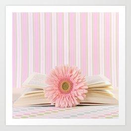 Pink flower on book (Retro Still Life Photography)  Art Print
