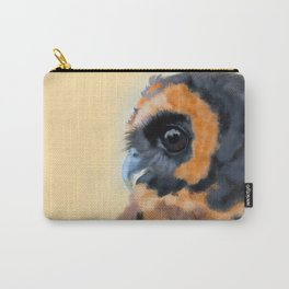Brown-Blue Wood Owl Portrait Carry-All Pouch