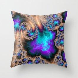 Electric Ocean - Fractal Art Throw Pillow
