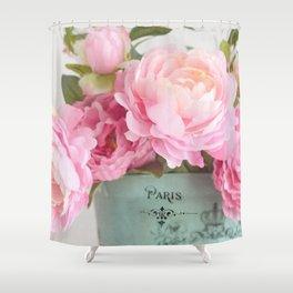 Paris Pink Peonies Bouquet Shower Curtain