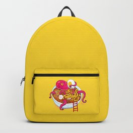 Bowl of ramen with octopus taking a bath Backpack
