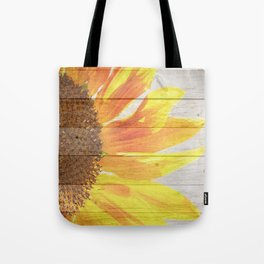 Sunflower on Wood Tote Bag