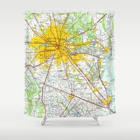 houston Shower Curtains featuring Houston old map by Larsson Stevensem