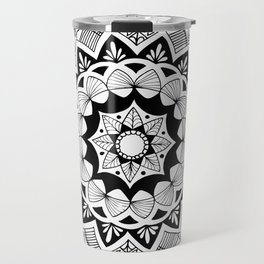 Moroccan black mandala on white Travel Mug
