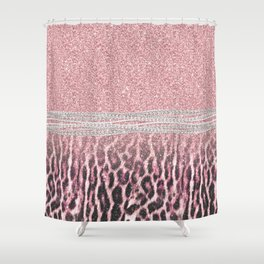 Chic Girly Pink Leopard animal print Glitter Image Shower Curtain