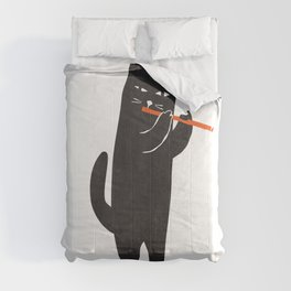 Black cat with flute Comforters