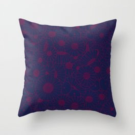 Floral Bunch Blue Red Throw Pillow