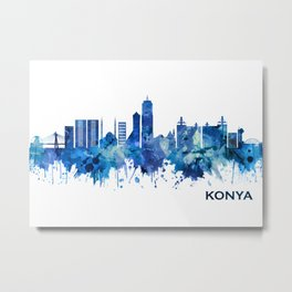 Konya Turkey Skyline Blue Metal Print