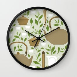 Seamless pattern with items for traditional Chinese tea drinking Pin Cha. The kettle, gaiwan and the green tea leaves. Wall Clock