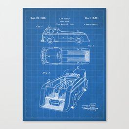 Fire Truck Patent - Fireman Art - Blueprint Canvas Print