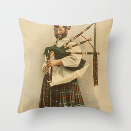 Vintage Illustration of a Scottish Bagpiper (1898) Throw Pillow