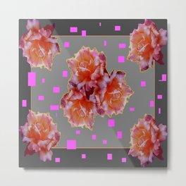 Grey & Violet Design & Old Rose flowers Pattern Art Metal Print