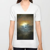 ruben V-neck T-shirts featuring Solar Eclipse 2 by Aaron Carberry