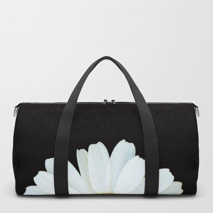 Hello Daisy - White Flower Black Background #decor #society6 #buyart Duffle Bag