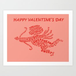 Cupid Calligram Art Print