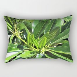 Glossy Green Leaves Rectangular Pillow