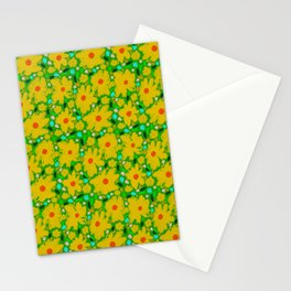 Flower Pattern - Yellow Retro, Floral Design Stationery Cards
