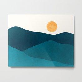 Teal Mountains / Minimalist Landscape Metal Print