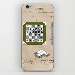 patent Kinsey Puzzle Blocks 1878 iPhone Skin