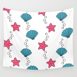 cute summer pattern with starfishes and seashells Wall Tapestry
