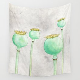 Four Poppy Pods Wall Tapestry