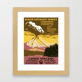 Vintage Lassen Volcanic National Park Framed Art Print