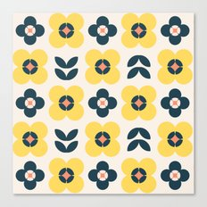Vintage geometric flowers II Canvas Print