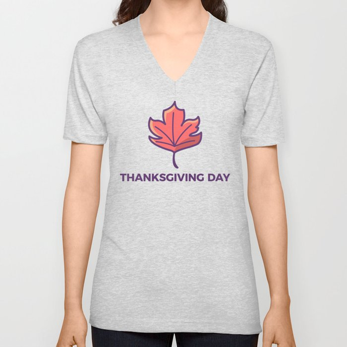 Happy Thanksgiving Day Maple Leaf Design Unisex V-Neck