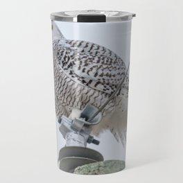 Snowy Owl on Power Lines Travel Mug