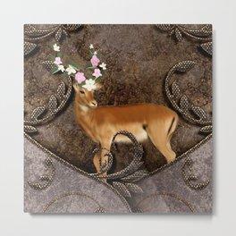 Wonderful antelope with flowers Metal Print