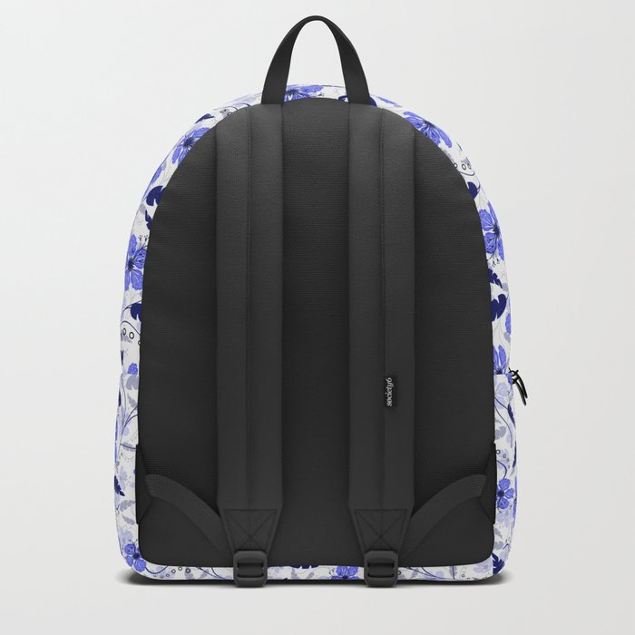Floral pattern on a white background. Backpack