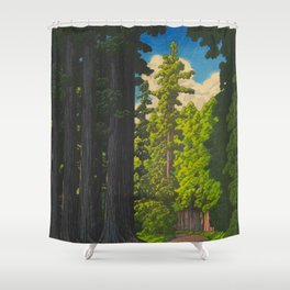 Vintage Japanese Woodblock Print Kawase Hasui Mystical Japanese forest Tall Green Trees Shower Curtain