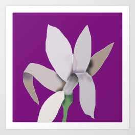 Grey Flower - Abstract on Purple Background Art Print